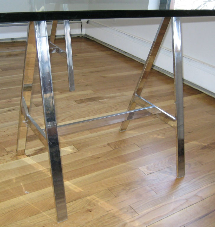 Vintage Chrome And Glass Trestle Dining Table/Desk At 1stdibs