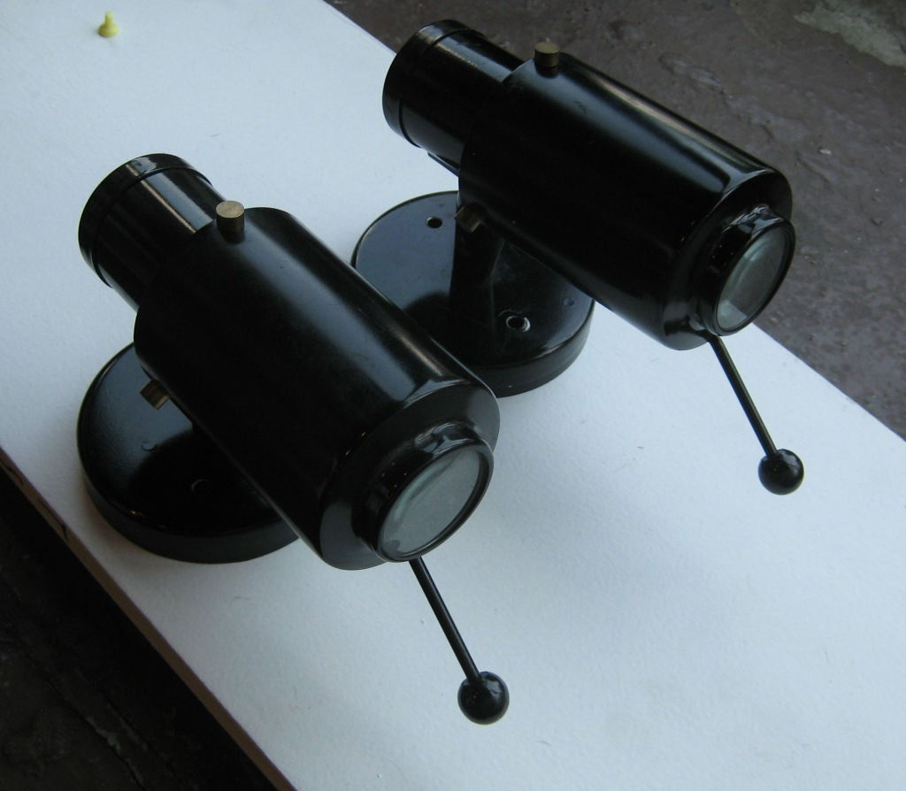 French Enamel Wall Lights : Pair of French Black Enamel Sconces by Lita For Sale at 1stdibs