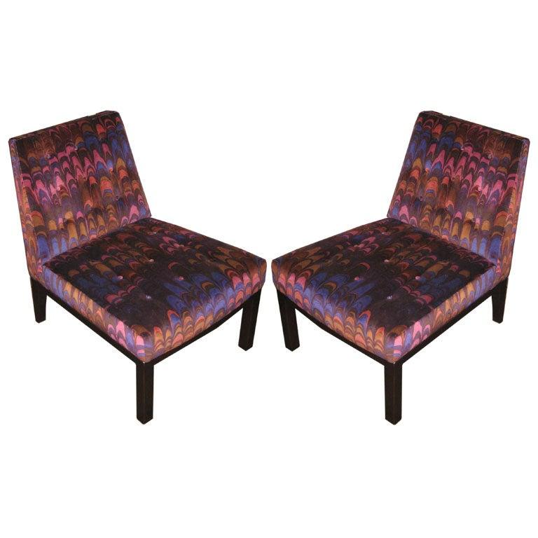 Pair Dunbar Slipper Chair In Jack Lenor Larsen Fabric