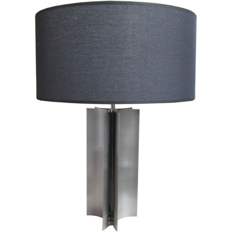 Brushed Steel Table Lamp For Sale