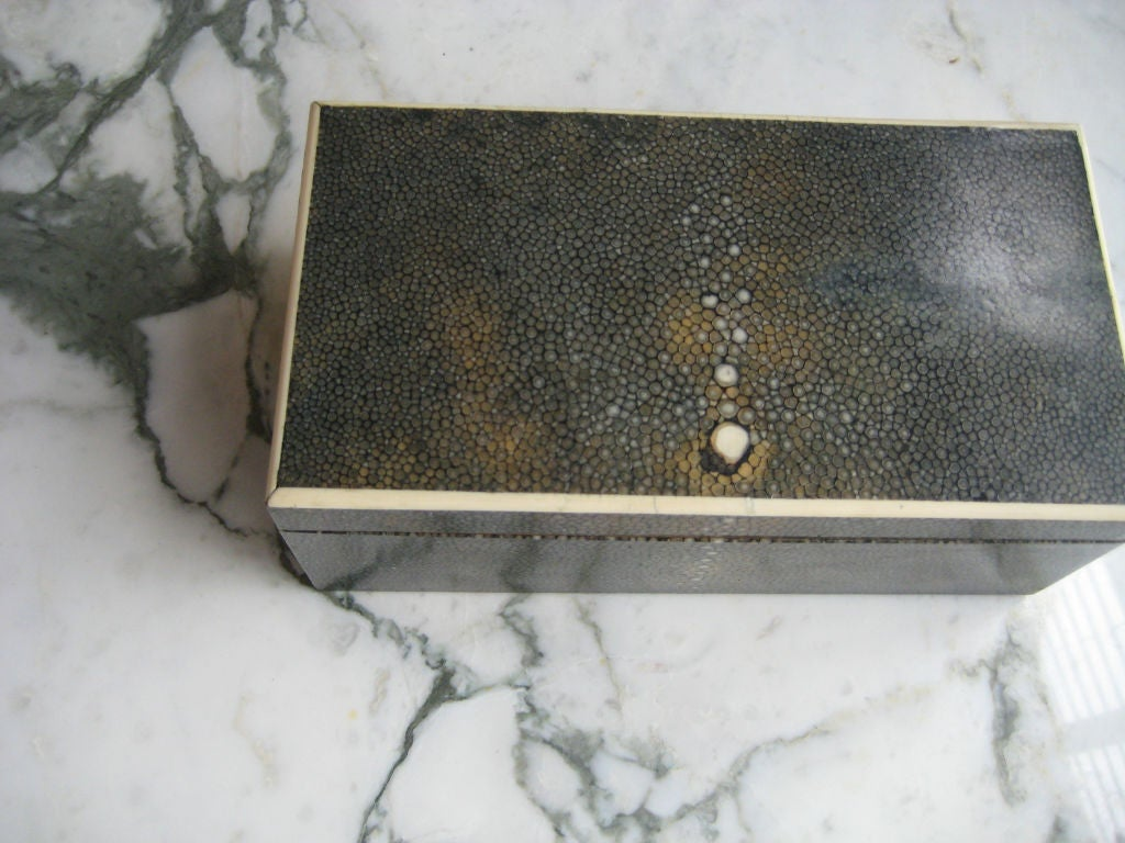 Large shagreen-wrapped wood box with inlay. Brass hinges and interesting shagreen 'camouflage' interior. Especially handsome design.