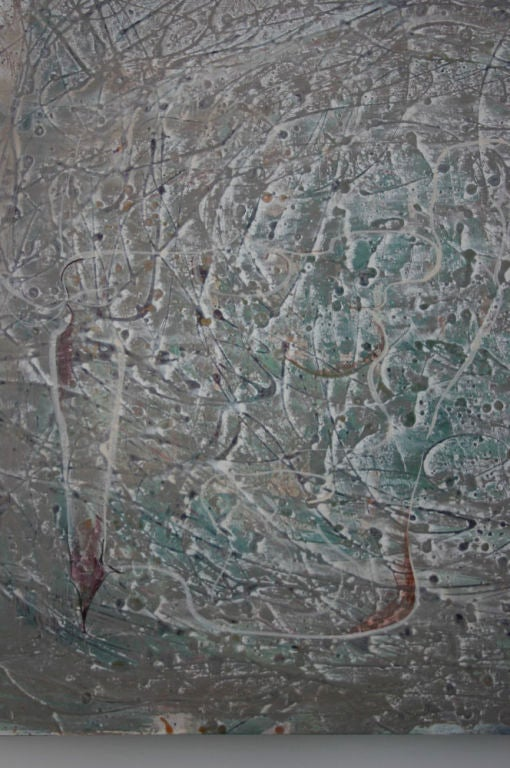 Silvery gray oil-based tactile painting with bluegreen red and black