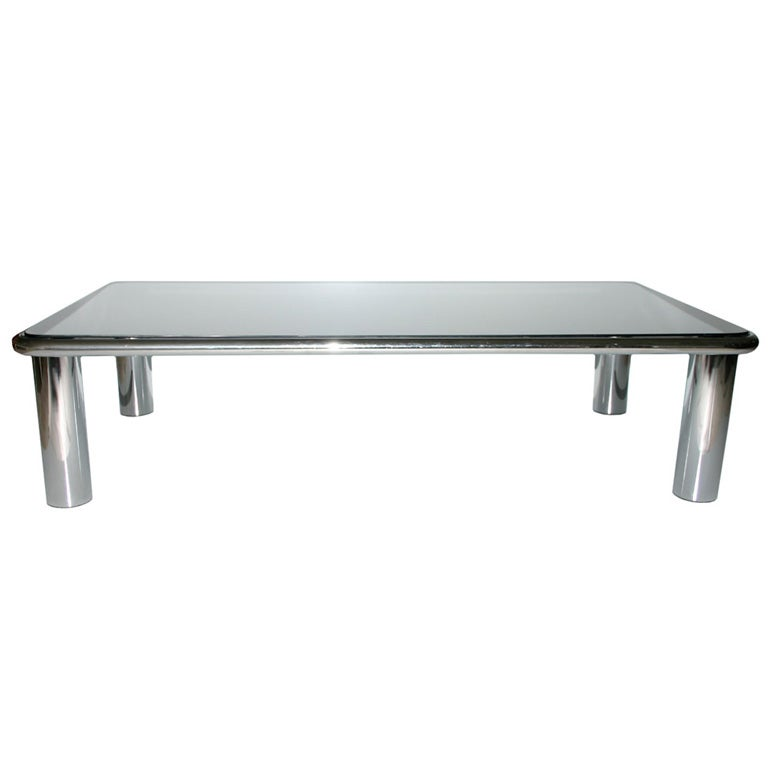 Chrome And Mirrored Glass Coffee Table At 1stdibs