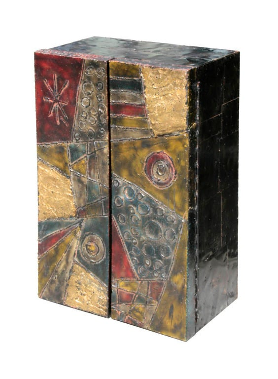 Sculpted Steel Wall Mount Cabinet Signed Paul Evans 68 2