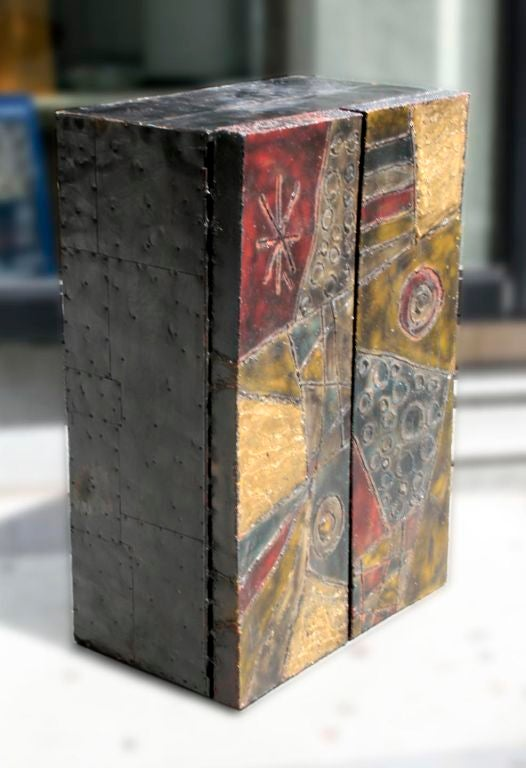 Polychromed Sculpted Steel Wall Mount Cabinet Signed Paul Evans 68 For Sale