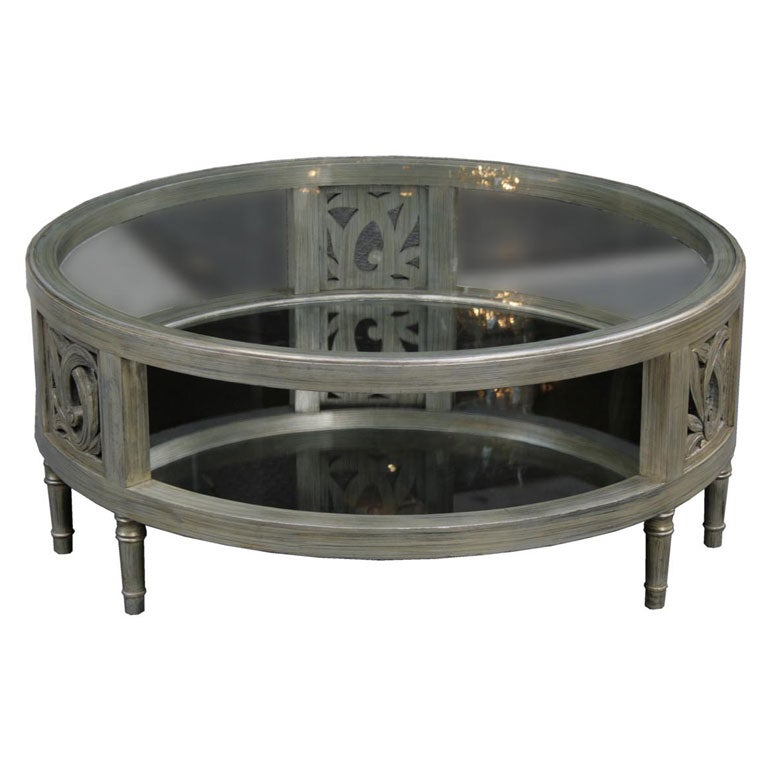 A Round Silver Leaf Cocktail Table By James Mont At 1stdibs
