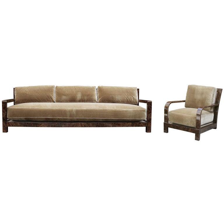 A Burr Walnut Veneer Armchair And Sofa By Johnannes Itten