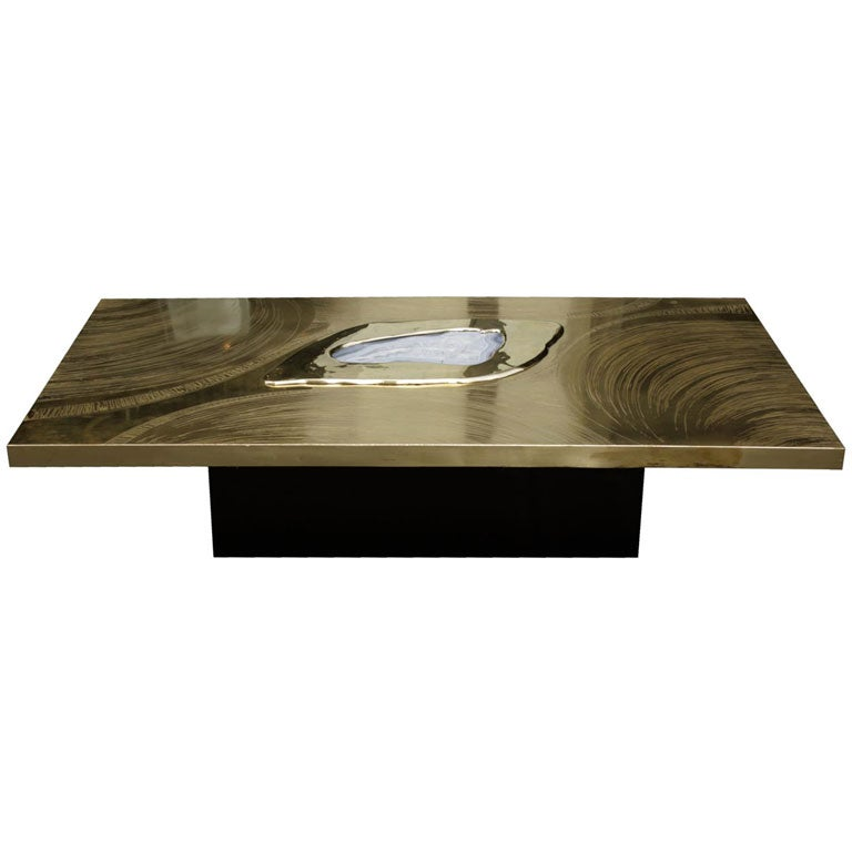 Brass And Agate Coffee Table By Willy Daro 1