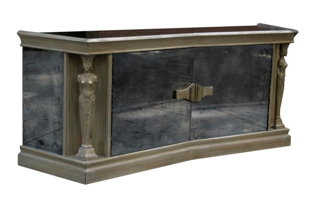Smoked Mirrored Caryatid Console By James Mont At 1stdibs