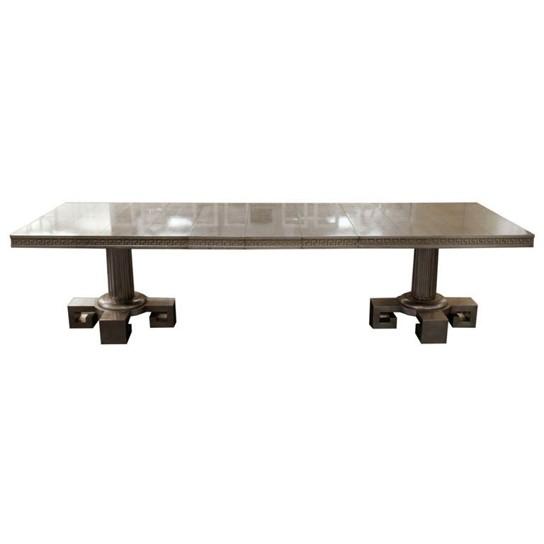 Double Pedestal Silver Leaf Dining Table By James Mont At