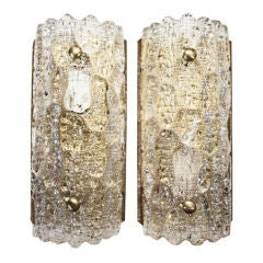 Pair of Crystal and Brass Sconces by Orrefors