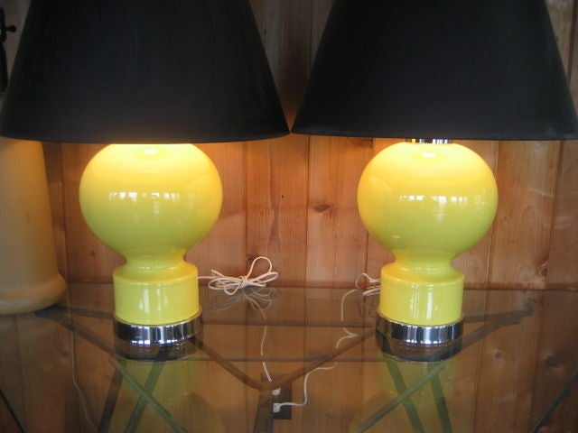 Chrome A Great Pair of Ceramic Lamps For Sale