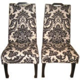 A Pair of Tall Upholstered Chairs