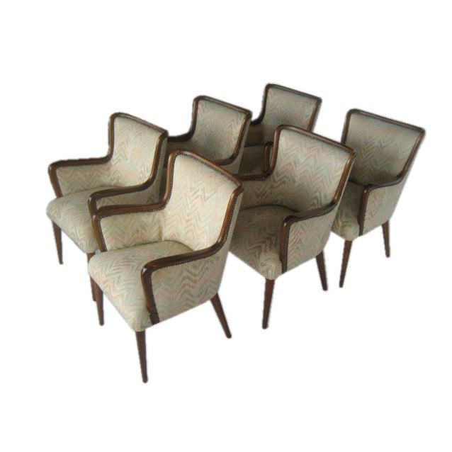 Set of Six Mahogany Armchairs by Osvaldo Borsani