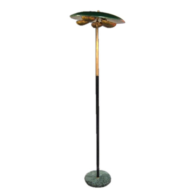 Stilnovo Floorlamp With Unusual Brass Shades For Sale