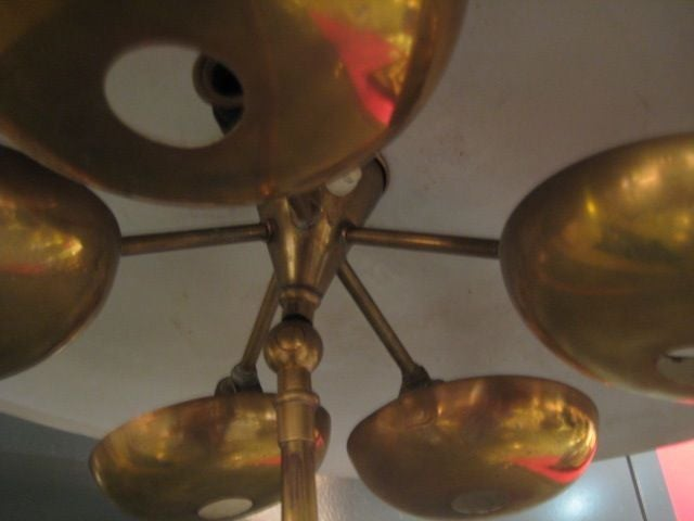 Italian Stilnovo Floorlamp With Unusual Brass Shades For Sale