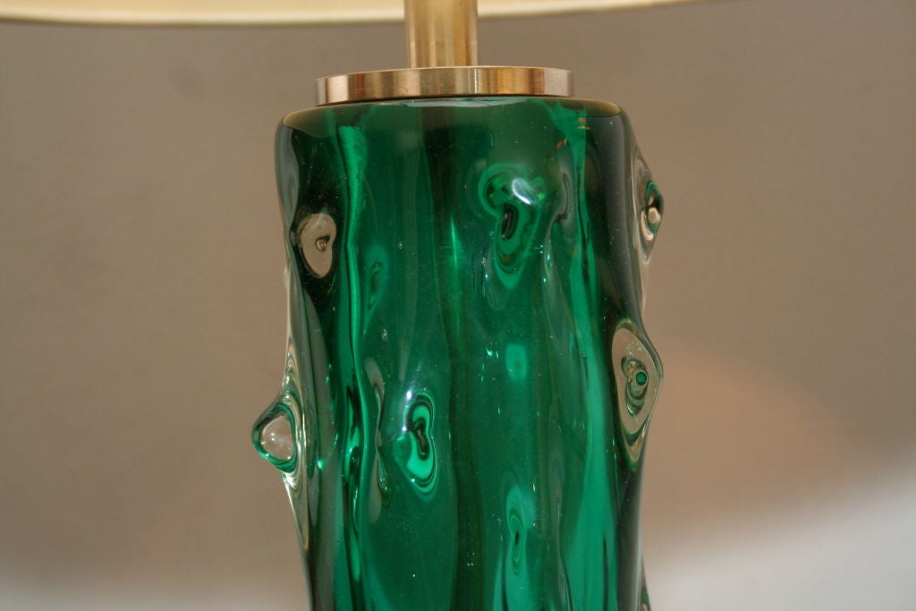 Seguso Table Lamps Pair of Murano Art Glass, Italy, 1950s In Good Condition For Sale In New York, NY