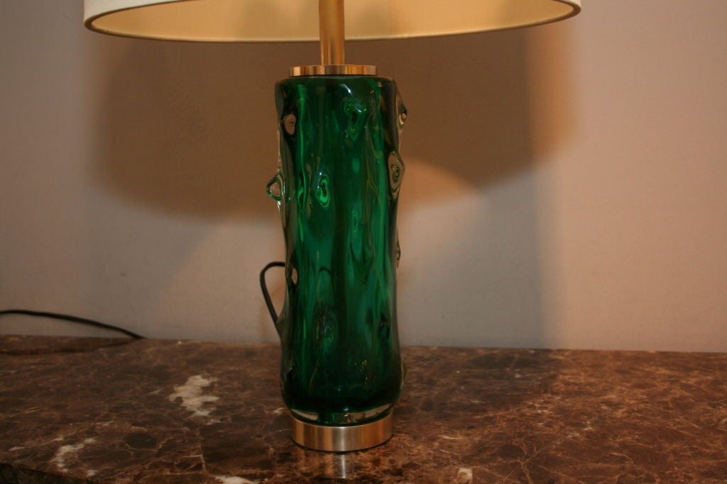 Mid-Century Modern Seguso Table Lamps Pair of Murano Art Glass, Italy, 1950s For Sale