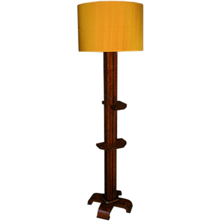 French Floor Lamp Art Deco Architectural burled wood France 1930's For Sale