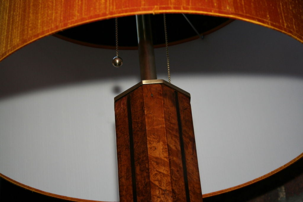 Lacquered Floor Lamp Art Deco Architectural burled wood France 1930's For Sale