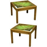 Pair of Atmospheric Reverse Painted Glass Tables by Henredon