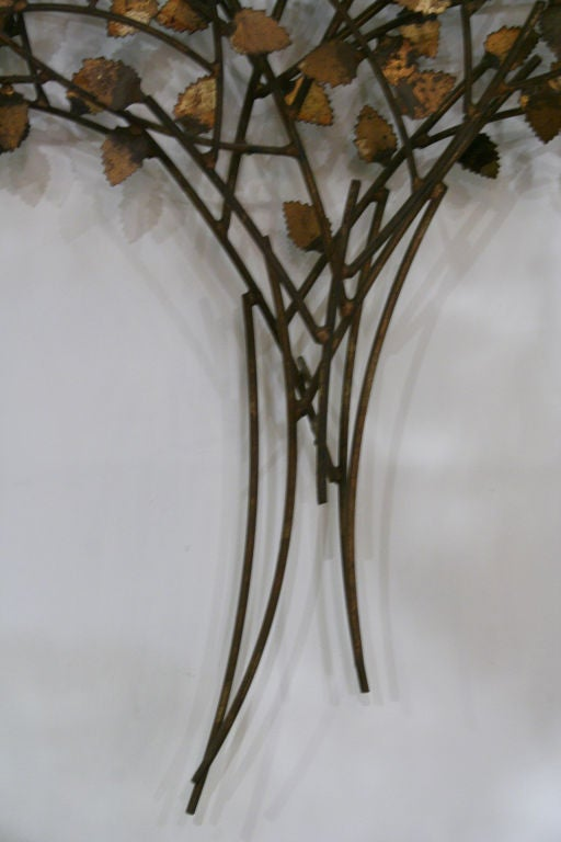 "Gold and Silver Leaf Wrought Iron ""Tree of Life"" Wall Sculpture 5"