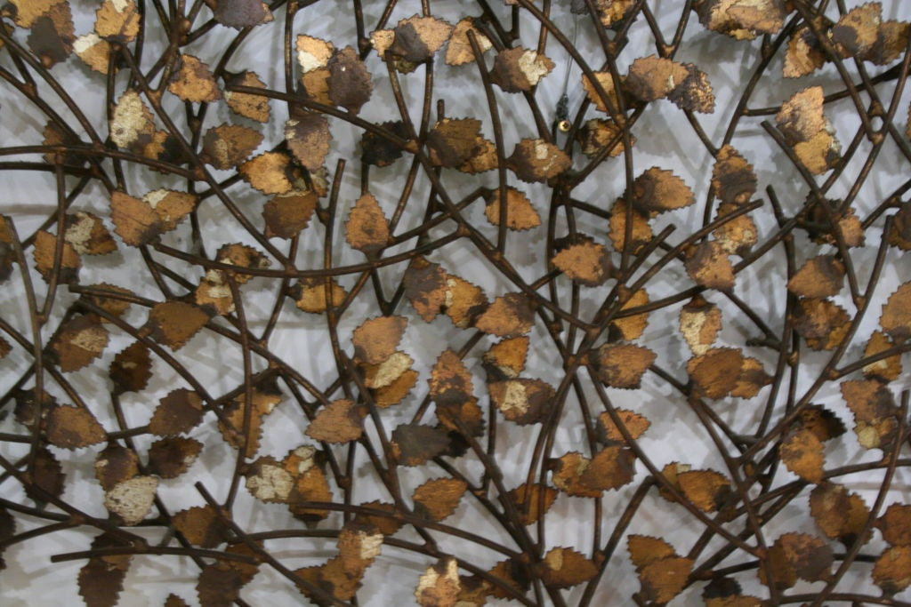 "Gold and Silver Leaf Wrought Iron ""Tree of Life"" Wall Sculpture 8"