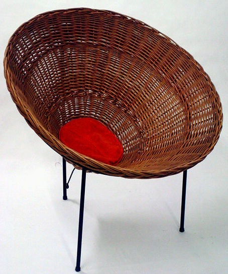Modernist Woven Wicker Cone Basket Lounge Chair For Sale