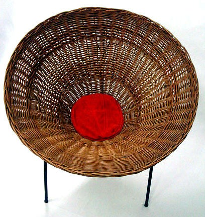 Mid-Century Modern Sunflower Woven Wicker Cone Basket Lounge Chair by Roberto Mango for Tecno For Sale