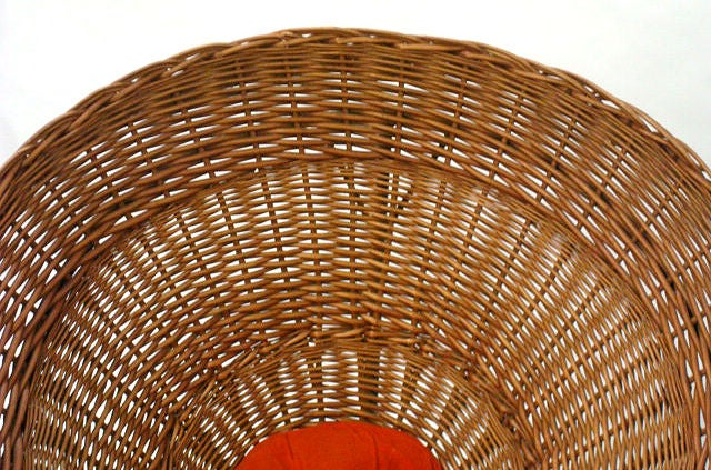 Italian Sunflower Woven Wicker Cone Basket Lounge Chair by Roberto Mango for Tecno For Sale
