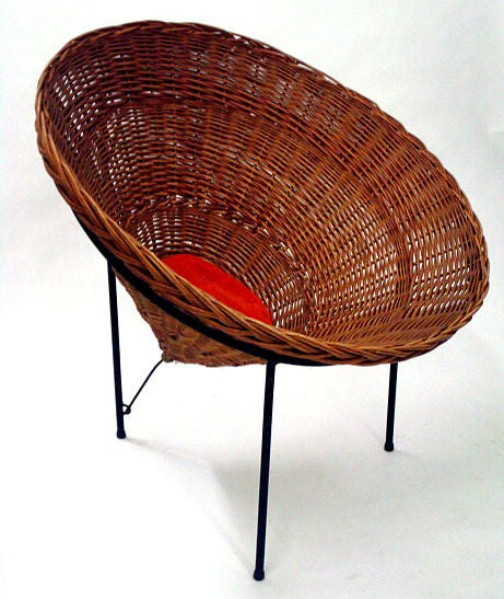 Mid-20th Century Sunflower Woven Wicker Cone Basket Lounge Chair by Roberto Mango for Tecno For Sale