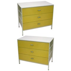 Pair of Three-Drawer Steel Frame Chests by George Nelson