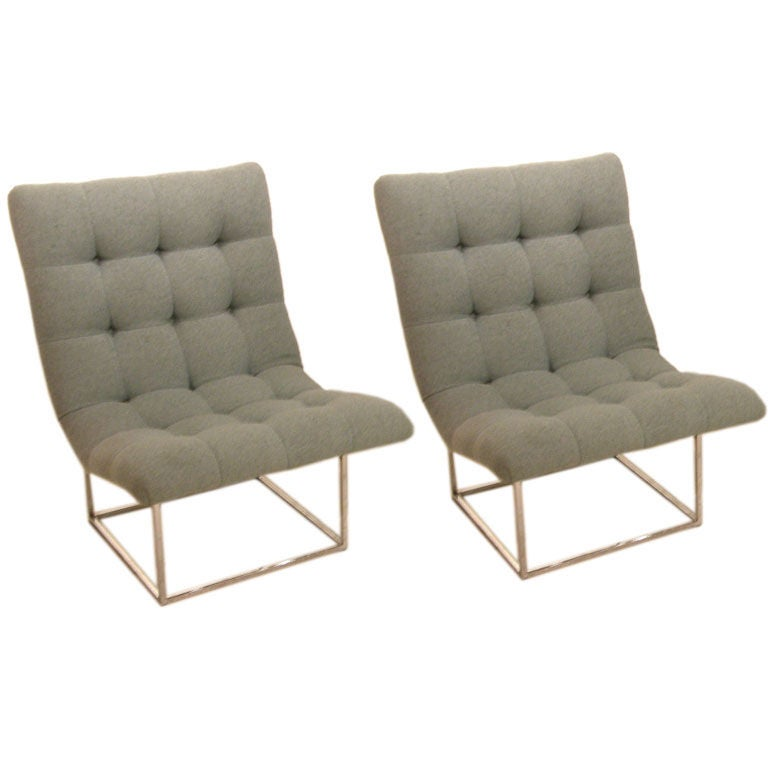 Pair Of Floating Scoop Slipper Chairs By Milo Baughman 1