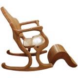 Sculptural California Craft Scroll Form Rocking Chair