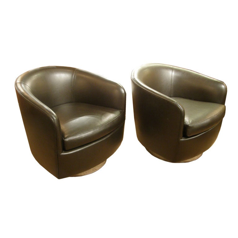 Pair of Barrel Back Swivel Tilt Lounge Chairs by Milo