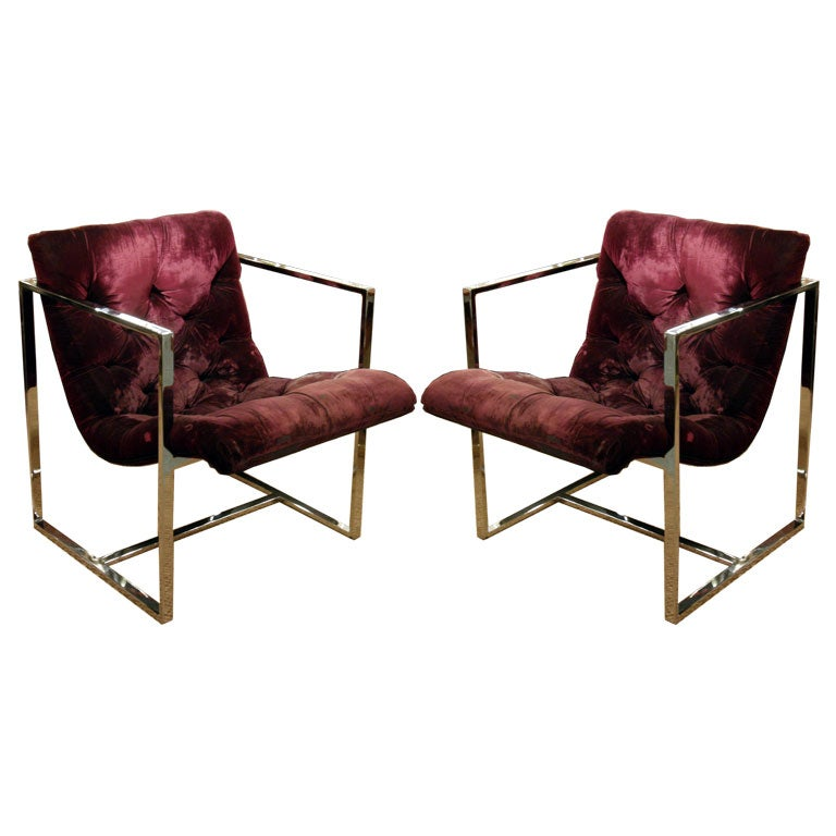 Pair of Square Framed Lounge Chairs by Milo Baughman