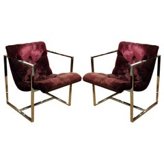 Pair of Square Framed Lounge Chairs by Silvercraft