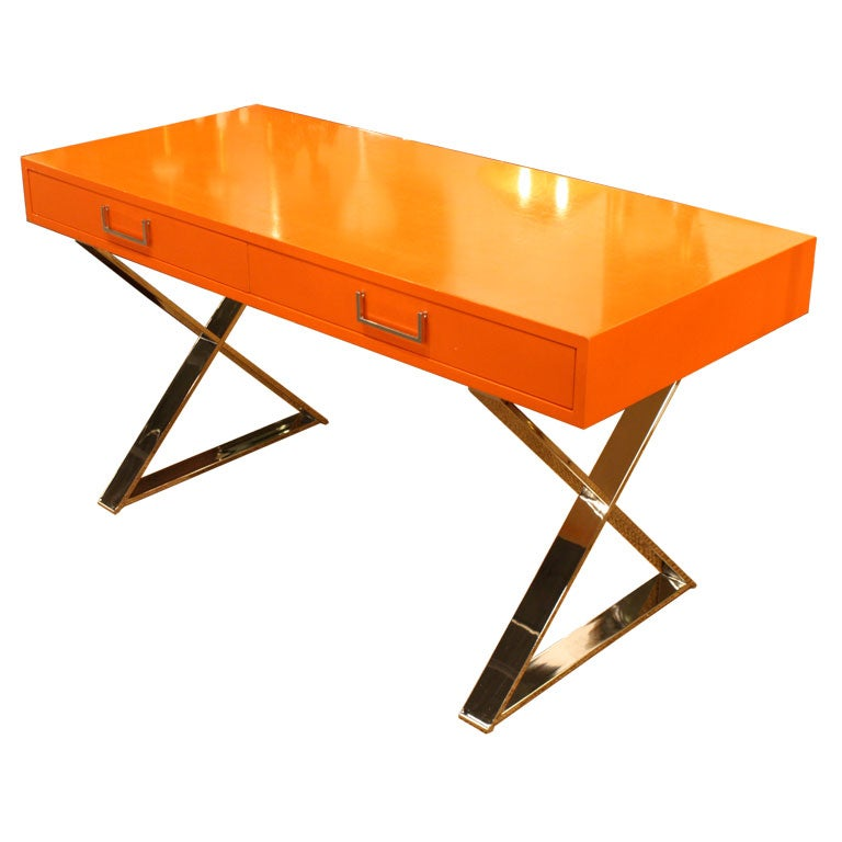 Orange Lacquered Campaign Desk By Milo Baughman At 1stdibs