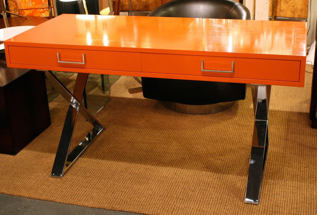 Orange Lacquered Campaign Desk by Milo Baughman image 3