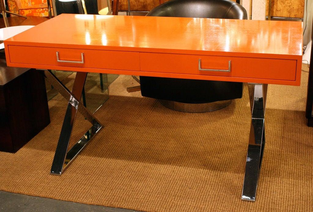 Mid-Century Modern Orange Lacquered Campaign Desk by Milo Baughman