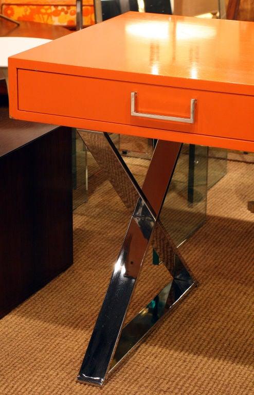 American Orange Lacquered Campaign Desk by Milo Baughman