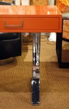 Orange Lacquered Campaign Desk by Milo Baughman thumbnail 5