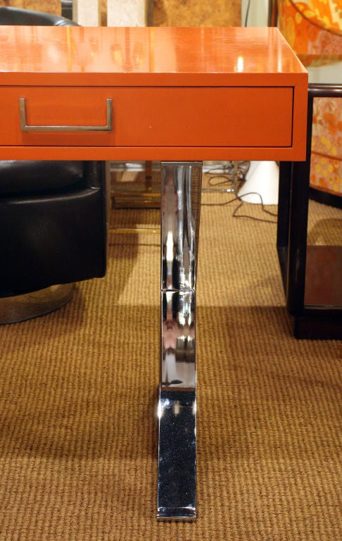 Orange Lacquered Campaign Desk by Milo Baughman In Excellent Condition In New York, NY