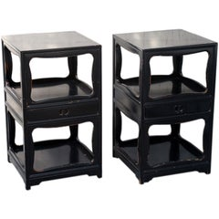 """Pair of """"Far East"""" Tall Night Stands by Baker"""