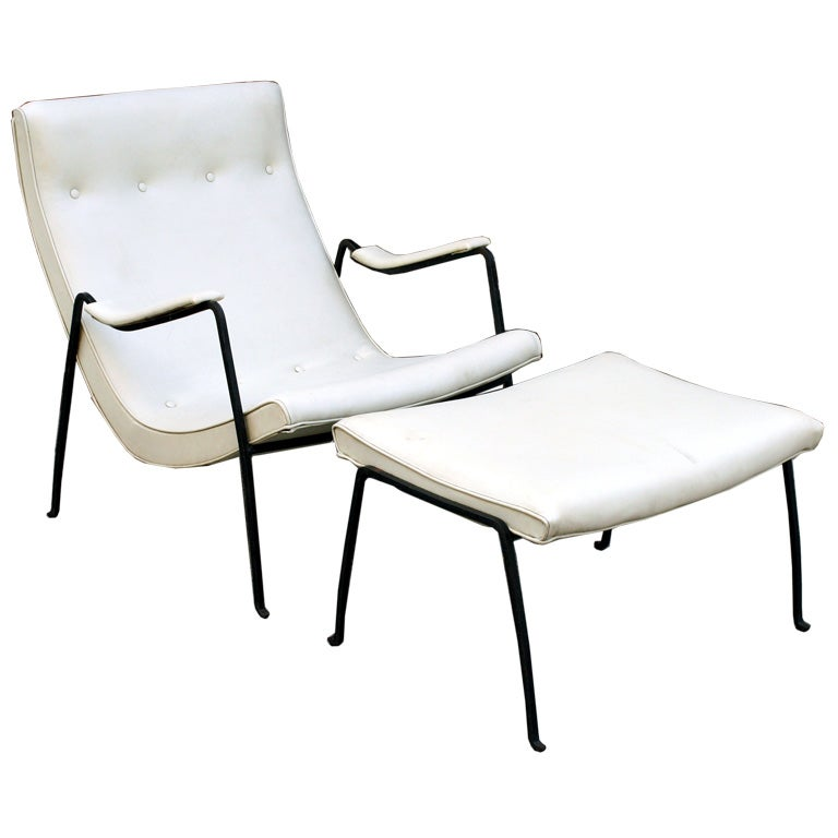 Wrought Iron Frame Scoop Chair and Ottoman by Milo Baughman