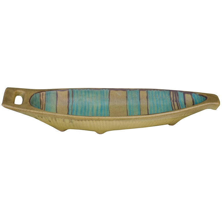 Mesa Green Glaze Ceramic Boat by Fong Chow for Glidden