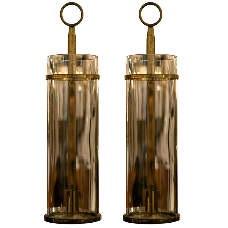 Hurricane Wall Sconces Lamps : Pair of Hurricane Candle Sconces by Tommi Parzinger for Dorlyn at 1stdibs