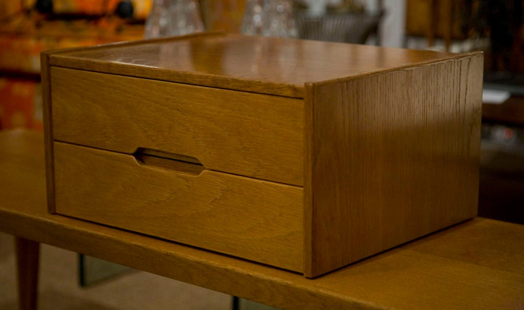 A two-drawer letterbox organizer in oak by Aksel Kjersgaard. Another example available in teak. The interior dimensions of each drawer are 10 1/2 deep by 14 wide and 2 1/2 high, Danish, circa 1950.