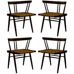 Set of Four Grass Seated Dining Chairs by George Nakashima