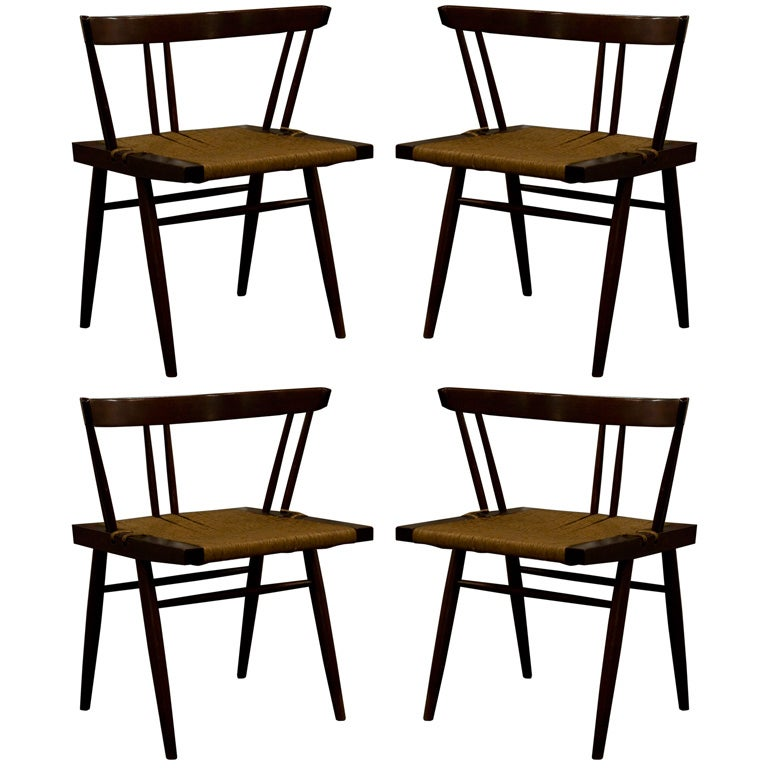 Set of Four Grass Seated Dining Chairs by George Nakashima For Sale